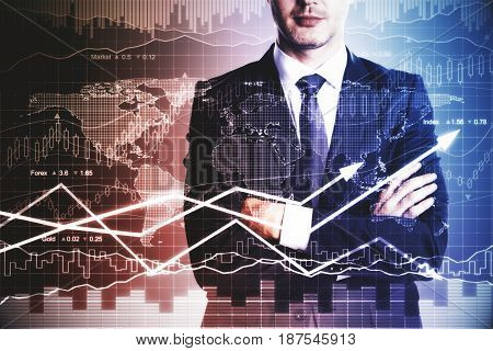 Businessman with folded arms standing on abstract forex chart background. Finance concept