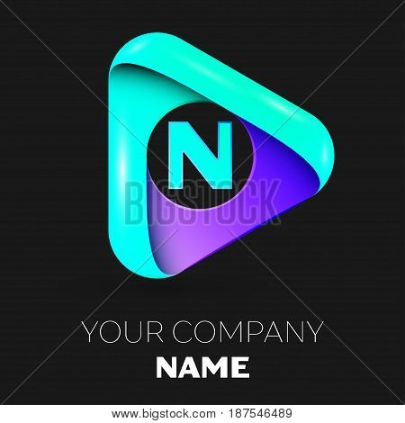 Letter N vector logo symbol in the colorful triangle on black background. Vector template for your design