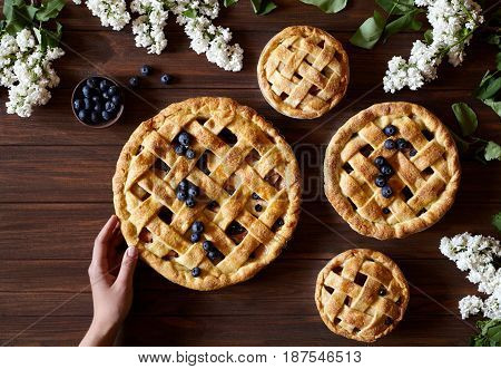 Apple pie pies bakery with apples, blueberry and cinnamon hold female hands on dark wooden kitchen table. Traditional dessert for Independence Day in America. Dark food photo. Flat lay.