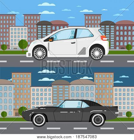 Classic muscle car and modern universal car in urban landscape. City street road traffic vector illustration, cityscape background. People transportation, automobile service, auto vehicle banner