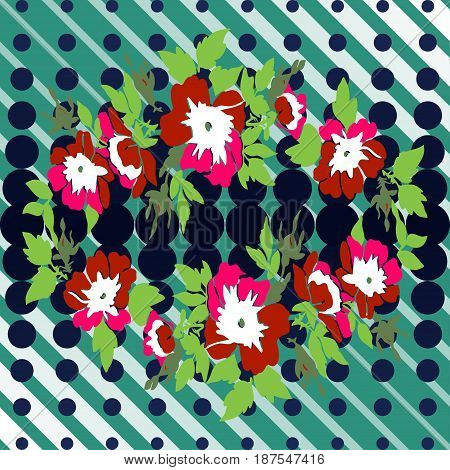 Hand drawn wreath flower roses tropical vintage print halftone dots pattern retro background vector illustration for design fashion shirt textile greeting card invitation wedding