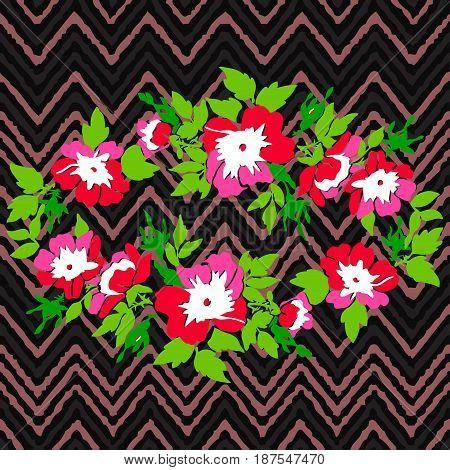 Hand drawn wreath flower roses tropical vintage print on stripes zigzag pattern grunge retro background vector illustration design for fashion shirt textile greeting card invitation wedding