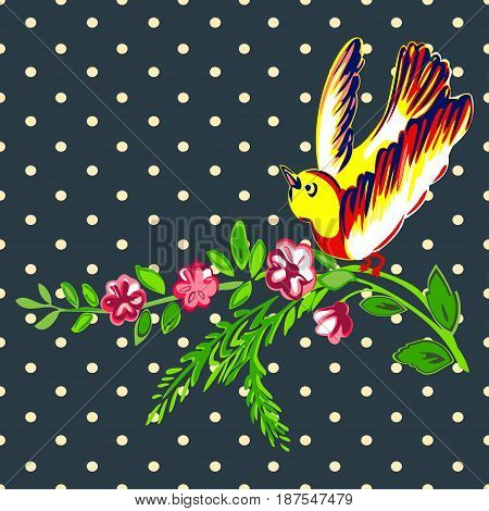 Hand drawn bird flying with flower roses tropical vintage print halftone dots pattern retro background vector illustration for design fashion shirt textile greeting card invitation wedding