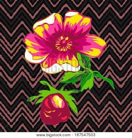 Hand drawn flower roses tropical vintage print stripes zigzag pattern grunge retro background vector illustration design fashion shirt textile greeting card invitation wedding