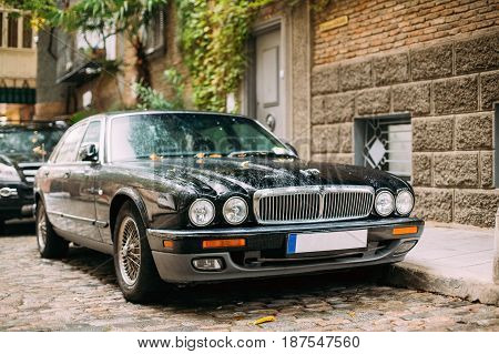 Tbilisi, Georgia - October 22, 2016: The Jaguar XJ X308 Sedan Car Parked In Street. Jaguar Xj X308 Is A Luxury Saloon Manufactured And Sold By Jaguar Cars Between 1997 And 2003.