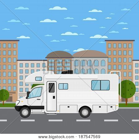 Modern camper van in urban landscape. Comfortable minibus, family trailer, people transportation concept. City street road traffic vector illustration, cityscape background with skyscrapers.