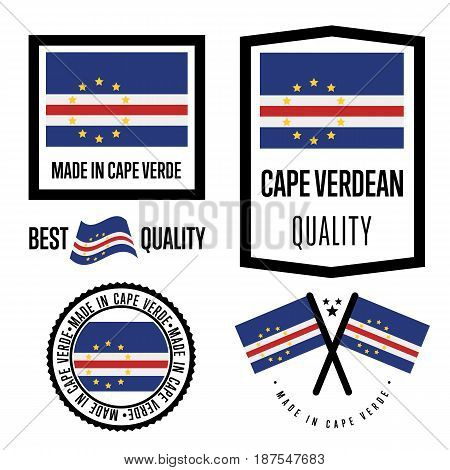 Cape Verde quality isolated label set for goods. Exporting stamp with nation flag, manufacturer certificate element, country product vector emblem. Made in Cape Verde badge collection.