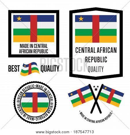 Central African Republic quality isolated label set for goods. Exporting stamp with nation flag, manufacturer certificate element, country product vector emblem. Made in Central African Republic badge