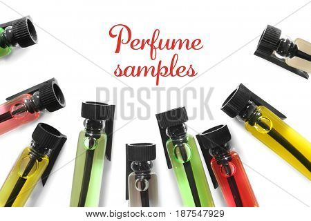 Perfume samples on white background