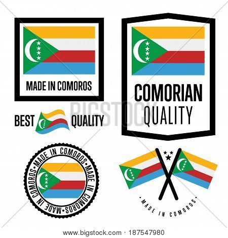 Comoros quality isolated label set for goods. Exporting stamp with comorian flag, nation manufacturer certificate element, country product vector emblem. Made in Comoros badge collection.