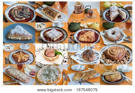 A largA large collage with sweet buns tea, coffeee collage with sweet buns tea, coffee