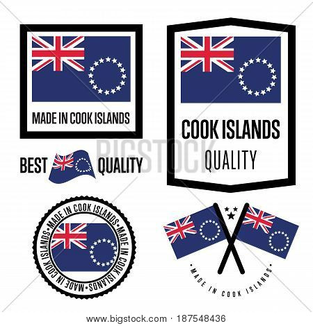 Cook Islands quality isolated label set for goods. Exporting stamp with nation flag, manufacturer certificate element, country product vector emblem. Made in Cook Islands badge collection.