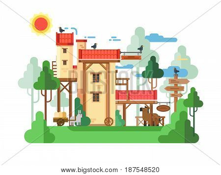 Farmland real estate design flat. Farm house, rural real estate, vector illustration