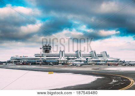 Minsk, Belarus - December 15, 2016: Aircraft Airlines Belavia stand at the Minsk National Airport - Minsk-2 terminal at winter day