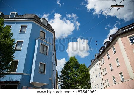 Old building in Munich blue sky tree