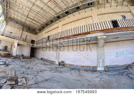 Theatre interior.Lost city Pripyat.Chernobyl Exclusion Zone.May 19, 2017.Kiev region.Ukraine