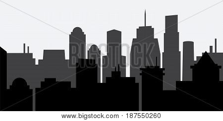 Silhouette of the city. Vector Illustration of architectural buildings