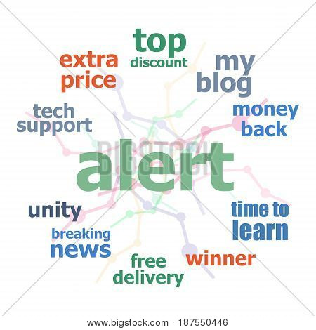 Text Alert. Security Concept . Word Cloud Collage. Background With Lines And Circles