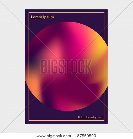 Fluid colors backgrounds, round, poster, purple pink yellow gradient