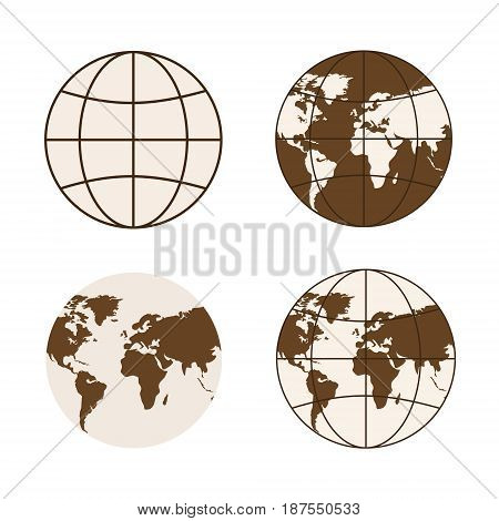 Set of different types of globes. Symbols of global technology, international associations, ect. Square location. Vector Illustration of brown globe icons.