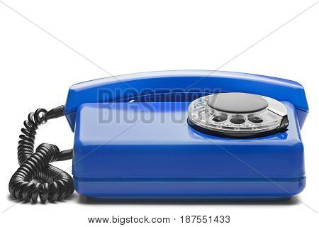 Landline Red Phone On Isolated Background With A Shadow