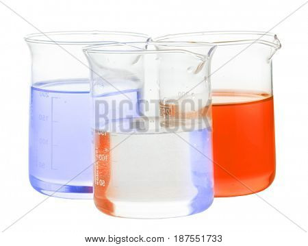 flasks with orange, blue and transparent chemical liquid isolated on white background