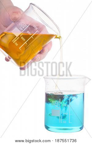 chemistry experiment isolated on white background