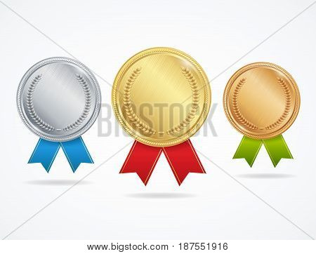 Realistic Metal Award Medals Set - Gold, Silver and Bronze Symbol of Victory, Competition or Achievement. Vector illustration