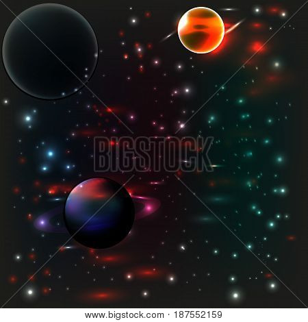 Three planets against the background of the starry sky. Cosmic landscape.