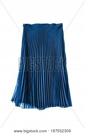 Chiffon pleated blue midi skirt isolated over white
