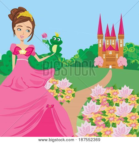 Beautiful young princess and big frog , vector illustration
