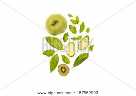 Different Organic Green Fruits And Vegetables Isolated On White With Copy Space