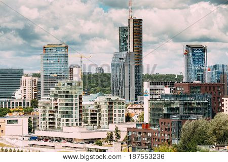 Vilnius, Lithuania  - July 5, 2016: Swedbank Office, City Municipality, City Style Centre Europa, Telia Lietuva. Vilnius Cityscape With Modern Skyscrapers