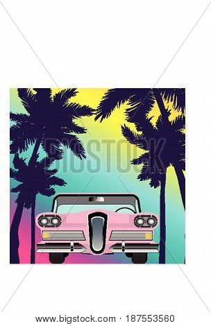 summer retro classic car vintage background object