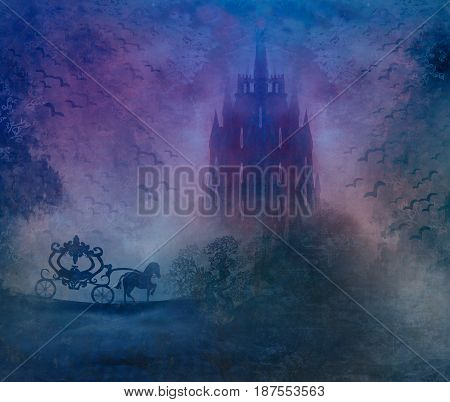 Carriage at sunset. Silhouette of a horse carriage and a medieval castle , raster