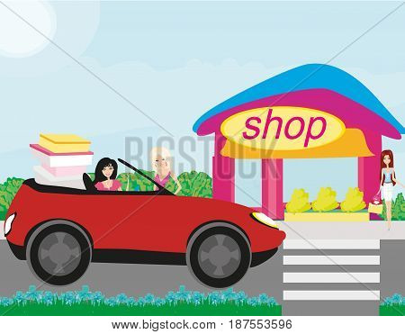 Beautiful women coming back from shopping , vector illustration