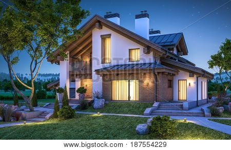 3D Rendering Of Modern Cozy House In Chalet Style