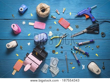 Top View Of The Layout Of Tools For Needlework And Scrapbooking