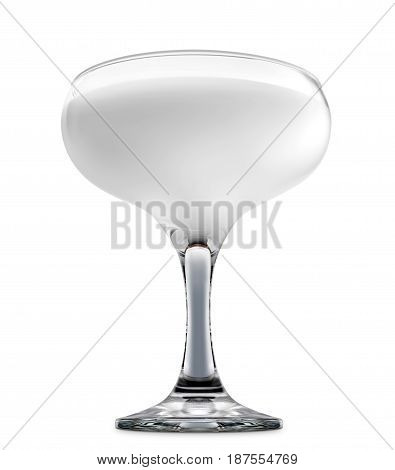 Pina colada or white russian cocktail or mocktail in margarita glass isolated on white background