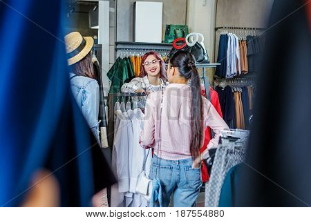 Multicultural Hipster Young Girls Shopping In Boutique, Fashion Shopping Girls Concept