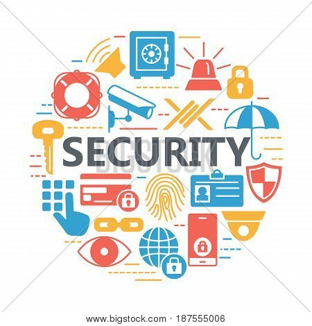 Protection and security silhouette icons. Basic set of website icons for security, isolated vector illustration.