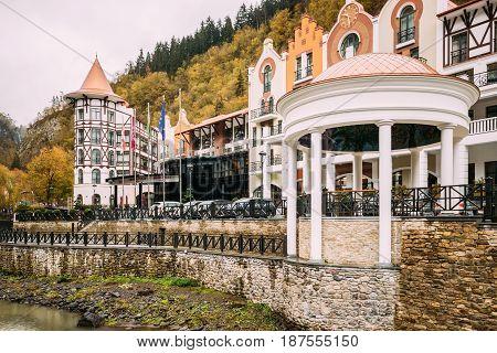 Borjomi, Samtskhe-Javakheti, Georgia - October 25, 2016: Crowne Plaza Borjomi Hotel House In Baratashvili Street At Autumn Day.