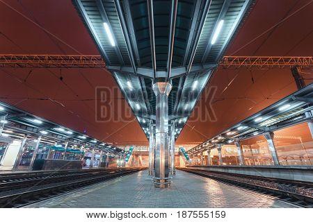 Modern Futuristic Railway Station With Illumination