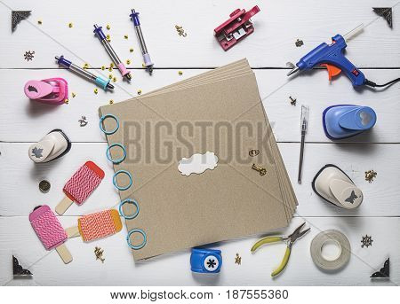 Blank Photo Album And Scrapbooking Tools