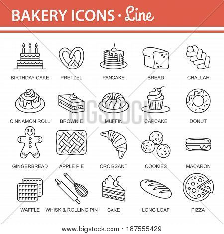 Bakery icon set. Bread Cake Pie Donut Pretzel Loaf Croissant Cupcake Macaroon Cinnamon Pancake Gingerbread. Outline vector Illustration isolated for graphic web design, for confectionery shop or cafe