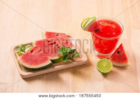 Watermelon Drink In Glasses With Slices Of Watermelon In Summertime