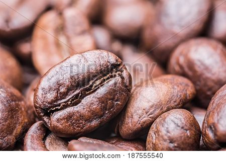 Roasted coffee beans. Macro shot.