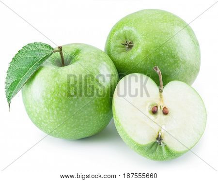Ripe green apples on the white background.