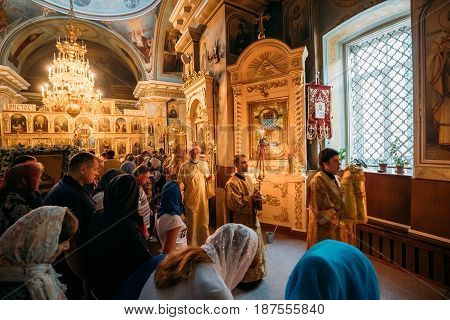 Gomel, Belarus - September 11, 2016: Procession During Public Church Service In Peter And Paul Cathedral In Gomel, Belarus