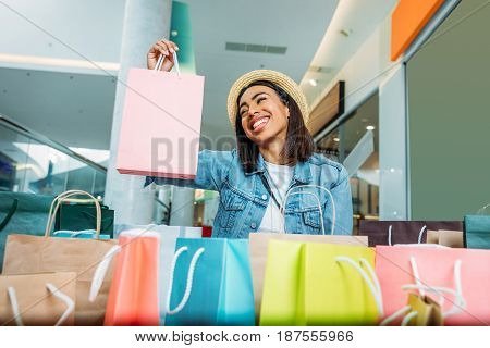 Happy Young Stylish Woman Holding Shopping Bag, Boutique Shopping Concept